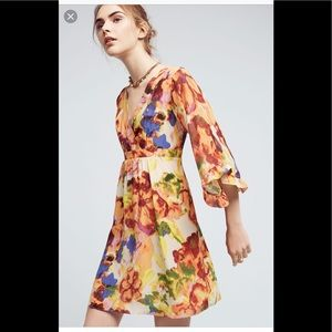 Anthropologie Deloria Prink Silk Dress NWT 0